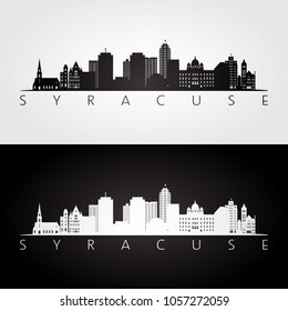 Syracuse USA skyline and landmarks silhouette, black and white design, vector illustration.
