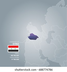 Syria 3d map with information of area and population of the country.