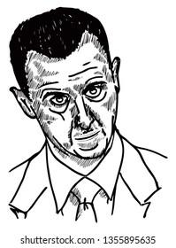 SYRIA, April 1, 2019: Caricature of Syrian President Bashar Al-Assad. Hand drawn vector illustration.