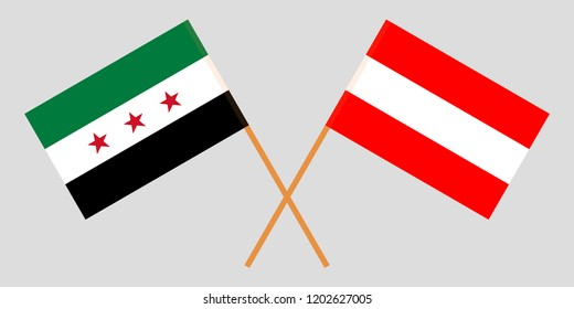 Syria and Austria opposition. The Syrian National Coalition and Austrian flags. Official colors. Correct proportion. Vector illustration