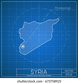 Spain blueprint map template capital city stock vector royalty free syria blueprint map template with capital city damascus marked on blueprint syrian map vector malvernweather Images