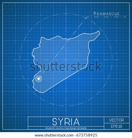 Syria Blueprint Map Template With Capital City Damascus Marked On Syrian Vector