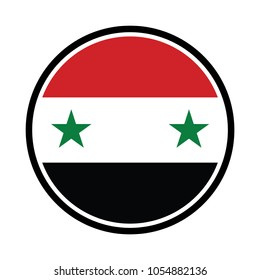 syria Flag in glossy round button of icon. syria emblem isolated on white background.