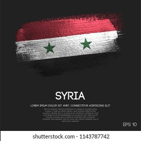 Syria Flag Made of Glitter Sparkle Brush Paint Vector