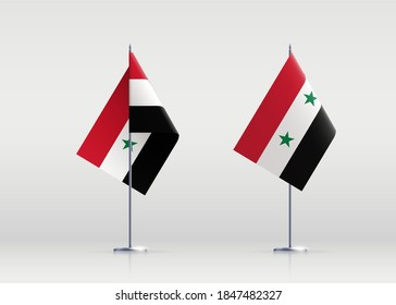 Syria flag state symbol isolated on background national banner. Greeting card National Independence Day of the Syrian Arab Republic. Illustration banner with realistic state flag.