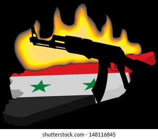 Syria in flames.Civil war concept