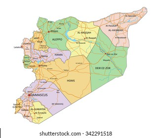 Syria map images stock photos vectors shutterstock syria highly detailed editable political map with labeling gumiabroncs Images