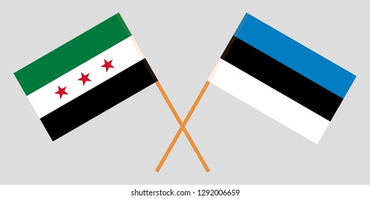 Syria Interim Government and Estonia. The Syrian Coalition and Estonian flags. Official proportion. Correct colors. Vector illustration