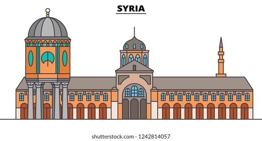 Syria line skyline vector illustration. Syria linear cityscape with famous landmarks, city sights, vector, design landscape.