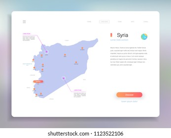 Syria map infographics vector template with cities, capital Damascus and pointer marks.