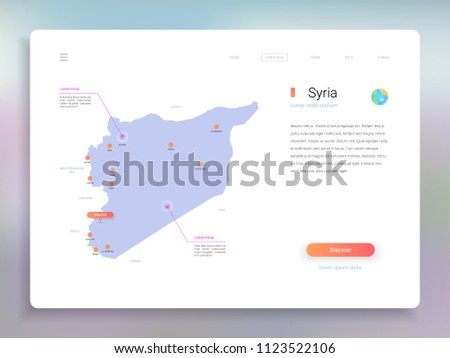 Syria Map Infographics Vector Template With Cities Capital Damascus And Pointer Marks