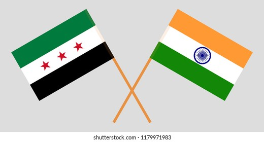 Syria opposition and India. Syrian National Coalition and Indian flags. Official colors. Correct proportion. Vector illustration