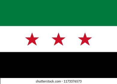 Syria Opposition. Interim Government flag of Syrian National Coalition. Official colors. Correct proportion. Vector illustration