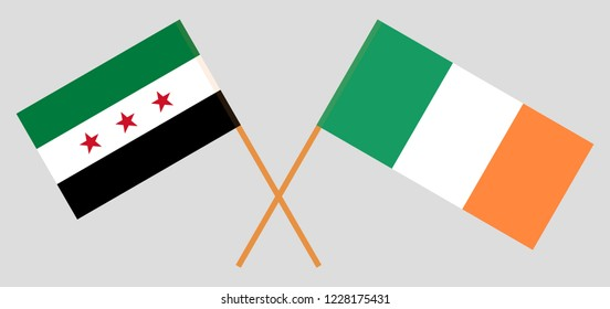 Syria opposition and Ireland. The Syrian National Coalition and Irish flags. Official colors. Correct proportion. Vector illustration