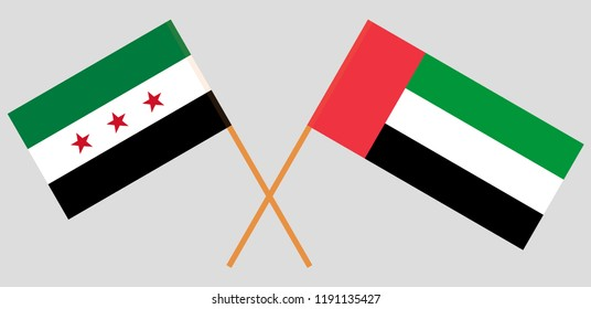 Syria opposition and United Arab Emirates. Syrian National Coalition and UAE flags. Official colors. Correct proportion. Vector illustration