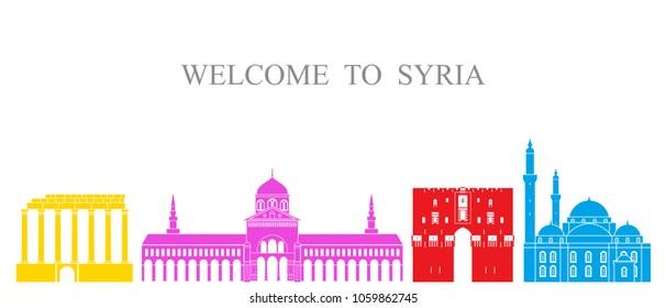 Syria set. Isolated Syria architecture on white background. EPS 10. Vector illustration