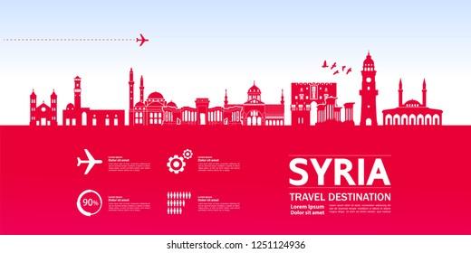 Syria Travel Destination Vector.