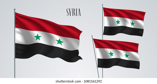 Syria waving flag set of vector illustration. White red colors of Syria wavy realistic flag as a patriotic symbol
