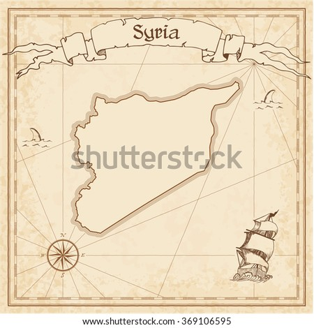 Syrian Arab Republic Old Treasure Map Sepia Engraved Template Of