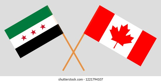 Syrian National Coalition and Canada. Flags of Interim Government of  Syria and Canadian. Official colors. Correct proportion. Vector illustration