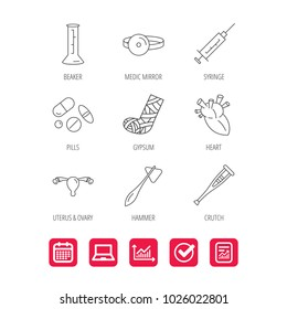 Syringe, beaker and pills icons. Crutch, medical hammer and mirror linear signs. Heart, broken leg and uterus ovary icons. Report document, Graph chart and Calendar signs. Laptop and Check web icons