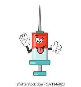 Syringe cartoon character. Medical equipment cute comic icon. Symbol of vaccine against covid-19. Funny vector design isolated on white background.