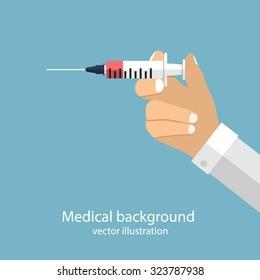 syringe in doctor hand. flat design. vector illustration for web and mobile app. medical background.
