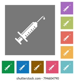 Syringe with drop flat icons on simple color square backgrounds