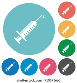 Syringe with drop flat white icons on round color backgrounds
