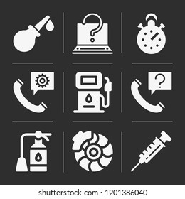 Syringe, enema, fire extinguisher, gas, brake, stopwatch, phone call icon set suitable for info graphics, websites and print media and interfaces