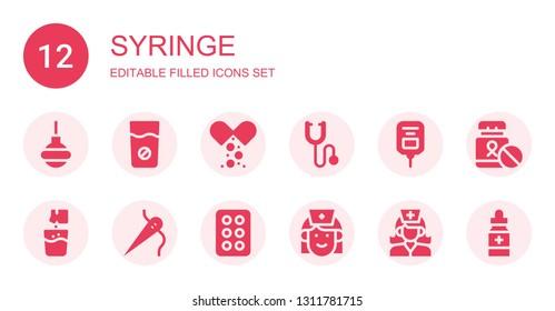 syringe icon set. Collection of 12 filled syringe icons included Enema, Medicine, Phonendoscope, Saline, Effervescent, Needle, Drug, Nurse