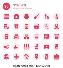 syringe icon set. Collection of 30 filled syringe icons included Needle, Healthcare, Medicine, Vaccine, Phonendoscope, Drug, Nurse, Live drive, Ampoule, Effervescent, Drugs, Saline