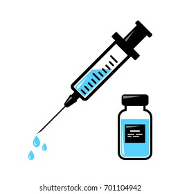 Syringe for injection with blue vaccine, vial of medicine. Vector illustration