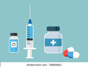 Syringe for injection with blue vaccine, vial of medicine, and medicine bottle and pills, capsules. Vector illustration