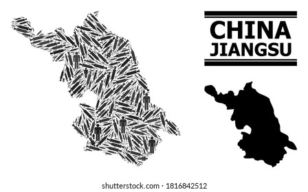 Syringe mosaic and solid Map of Jiangsu Province. Vector Map of Jiangsu Province is done from inoculation icons and people figures. Collage is useful for pandemic posters.