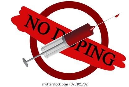 syringe as a sign of warning about the dangers of doping
