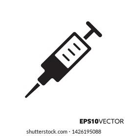 Syringe solid black icon. Glyph symbol of medicine and health care. Drug flat vector illustration.