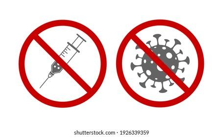 syringe stop drug warning sign and no virus covid 19 symbol icon