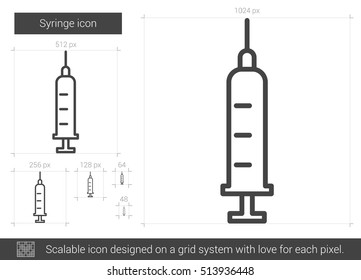 Syringe vector line icon isolated on white background. Syringe line icon for infographic, website or app. Scalable icon designed on a grid system.
