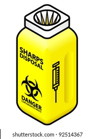 A syringe/sharps disposal bin / container.