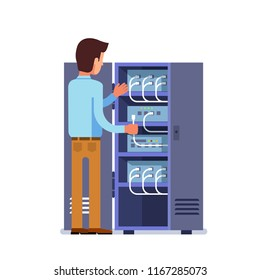Sysadmin engineer man working with server rack switchboard or switching cabinet. Network switch panel with plugged Ethernet optical fiber cables. Telecommunication equipment. Flat vector illustration