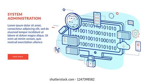 System Administration Concept for web page, banner, presentation. Vector illustration