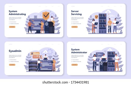System administrator web banner or landing page set. People working on computer and doing technical work with server. Configuration of computer systems and networks. Isolated flat vector illustration