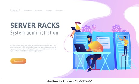 System administrators or sysadmins are servicing server racks. System administration, upkeeping, configuration of computer systems and networks concept. Violet color. Website landing web page template