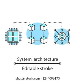 System architecture concept icon. Blockchain technology. Network. System integration idea thin line illustration. Digital technology. Database, server. Vector isolated outline drawing. Editable stroke