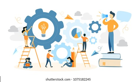 System building illustration. People making gears and cogs.