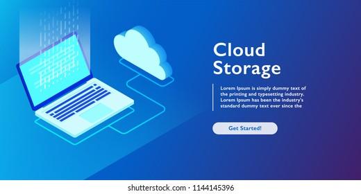 System of cloud storage, laptop uploading data, backup information isometric vector illustration