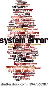System error word cloud concept. Collage made of words about system error. Vector illustration
