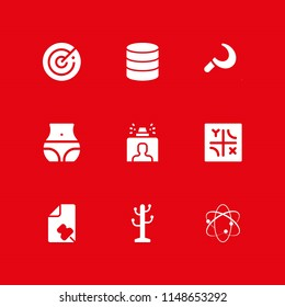 system icon set. database, atomic theory and security gate vector icon for graphic design and web
