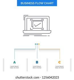 system, monitoring, checklist, Good, OK Business Flow Chart Design with 3 Steps. Line Icon For Presentation Background Template Place for text